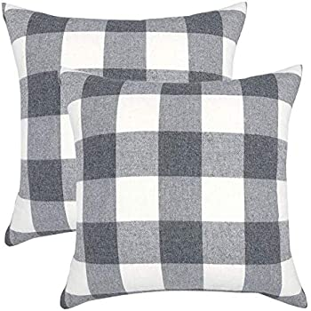 YOUR SMILE Retro Farmhouse Buffalo Tartan Checkers Plaid Cotton Linen Decorative Throw Pillow Case Cushion Cover Pillowcase for Sofa 22 x 22 Inch, Set of 2, Grey/White