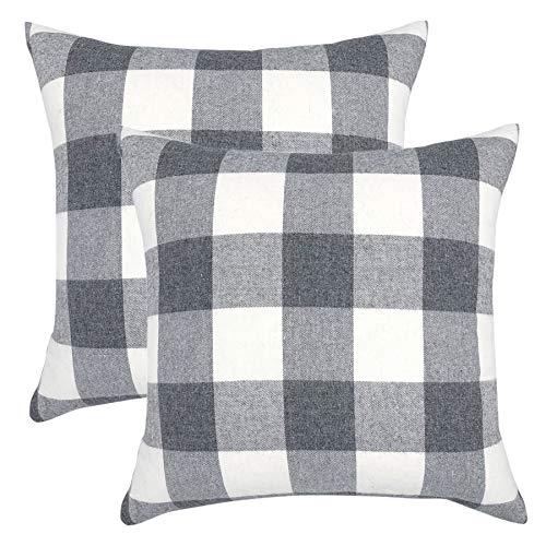 (YOUR SMILE Retro Farmhouse Buffalo Tartan Checkers Plaid Cotton Linen Decorative Throw Pillow Case Cushion Cover Pillowcase for Sofa 20 x 20 Inch,Set of 2,Grey/White)