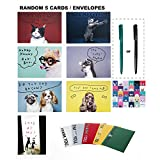 5 SET of Cute and Adorable Dog&Cat THANK YOU Cards, 5 THANK YOU Envelopes Included (Random All Different Designs)