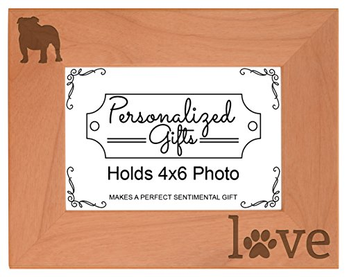 Frame Photo Bulldog - English Bulldog Gifts Paws Dog Owner Love Natural Wood Engraved 4x6 Landscape Picture Frame Wood
