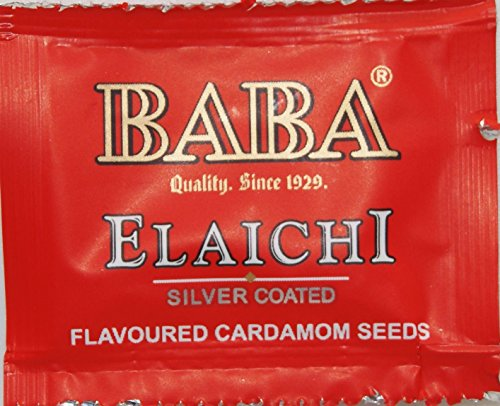 BABA Saffron Blended Elaichi Silver Coated Pack of 81 Sachet (Flavoured Cardamom Seeds, Premium Indian Mouth Freshner)