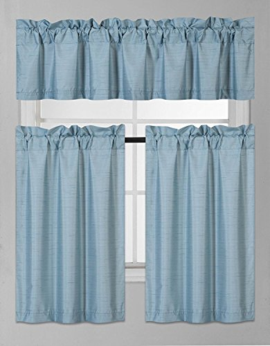 Elegant Home Collection 3 Piece Solid Color Faux Silk Blackout Kitchen Window Curtain Set with Tiers and Valance Solid Color Lined Thermal Blackout Drape Window Treatment Set #K3 (Teal Blue) (Teal Curtains Silk)