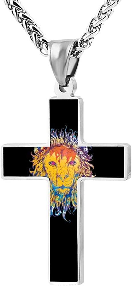 Black Zinc Alloy 24 Inches 3D digital print lion face Cross Necklace For Men And Women