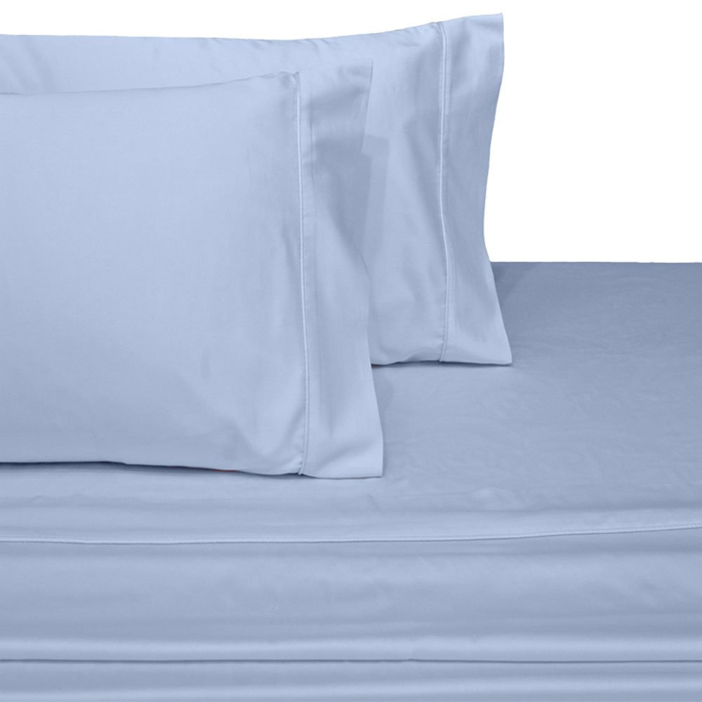 Royal's Solid Blue 4pc Queen Waterbed-Sheets 100% Brushed Microfiber, Sateen Solid Sheet Set Royal Hotel Bedding