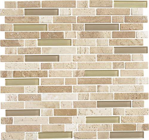 Daltile SA58RANDMSP Stone Radiance - Random Linear Mosaic Wall Tile - Textured V, Mushroom/Morning Sun Blend