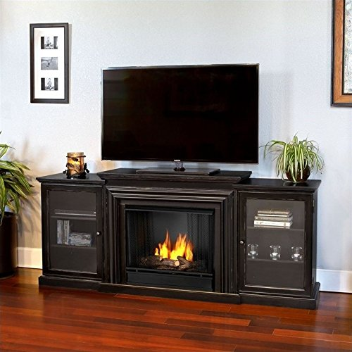 Real Flame Frederick Gel Fireplace Mantel for Most Flat-Panel TVs Up to 100 Lbs. Black 7740-BW