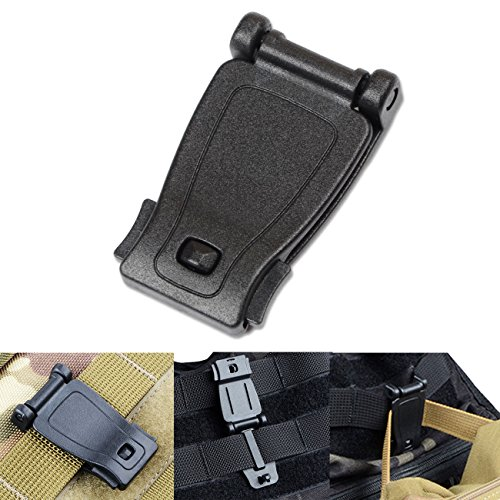 DYZD Multipurpose MOLLE Clip Molle Strap Attachments Tool Web Dominator Buckle for Tactical Bag, Backpack (Black,6 (Strap Clip Attachments)