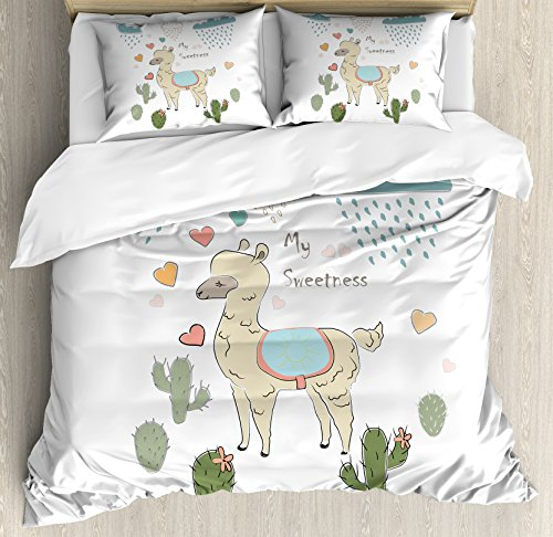 Ambesonne Llama Duvet Cover Set Queen Size, Cute Abstract Alpaca in The Rain with Cactuses Brush Strokes Effect Illustration, Decorative 3 Piece Bedding Set with 2 Pillow Shams, Multicolor