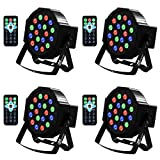 Uplights 18 RGB Led UpLights, Missyee Sound Activated DMX Uplighting, LED Par Can Lights with Remote Control, DJ Uplighting Package for Wedding Birthday Home Party (4 pcs)