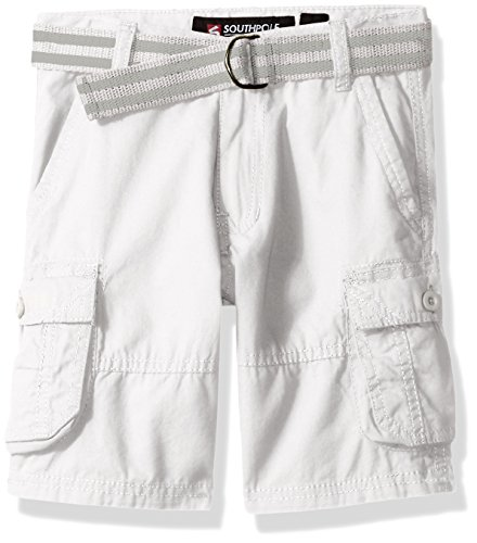 Southpole  Boys' Belted Mini Canvas Cargo Shorts in Various Colors, White, 5 (White Cargo Shorts)