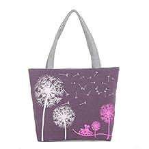 "BIBITIME Dandelion Print Canvas Tote Bag Women Beach Crossbody Purse Handbags Shoulder Bag Girl's Casual Lightweight Travel Bag Lunch Bag,Purple 16.54"" * 11.81"" * 3.54"""