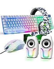 UK layout 5-i-1 trådbundet speltangentbord musuppsättningar regnbåge bakgrundsbelyst USB speltangentbord + 2400DPI 6 knappar optisk regnbåge LED spelmus + spelheadset+RGB-högtalare + musmattor för dator/PC (vit)