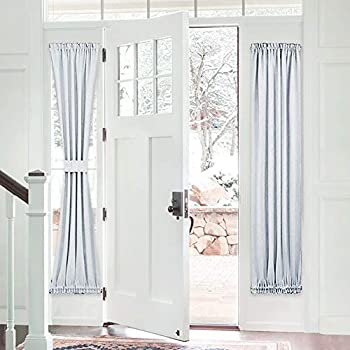 PONY DANCE Door Curtain Panel - Heavy-Duty Solid Rod Pocket Blackout Window Treatment for Sliding Glass French Door with Adjustable Tieback, 25 x 72-inch, Greyish White, 1 Piece