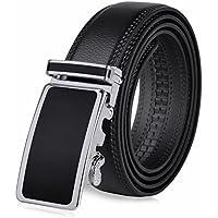 Vbiger Men's Leather Belt Sliding 35mm Buckle Ratchet Belt