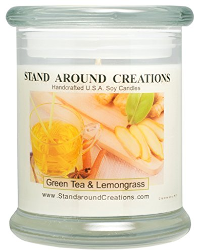 Premium 100% Soy Candle - 12 oz. Status Jar -Green Tea and Lemon Grass: Bright and natural citrus begins w/ notes of bergamot tea and plum w/ jasmine and orange - Shipping Status Usps