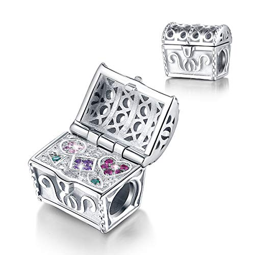 FOREVER QUEEN Treasure Chest Charm 925 Sterling Silver Open & Close Lock Bead fit Pandora Charms Bracelet Necklaces Pendant Jewelry ()