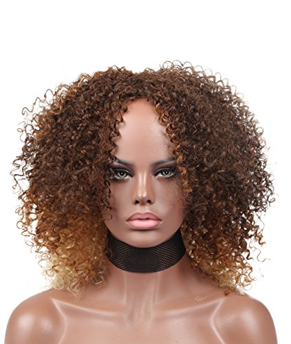 Search : Kalyss Ombre Brown with Blonde Big Bouncy African American Women's Wig Medium Short Afro Fluffy Kinky Curly High Resistant Synthetic Hair Wigs for Black Women