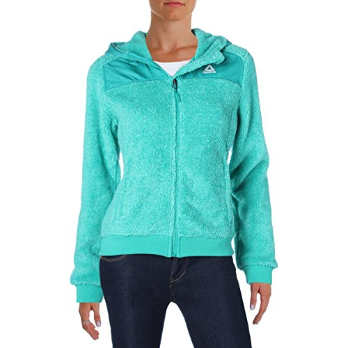 Reebok Womens Two Tone Monkey Fleece Hooded Jacket Mint