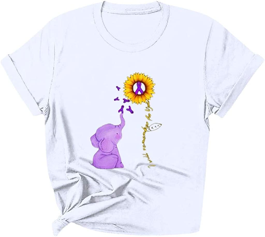 LUCAMORE Women Casual Funny Sunflower Print T-Shirt O-Neck Short Sleeve Tunic Tee T-Shirt Pullover Simple Tops