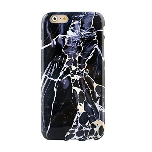 Black Marble Custom Laser (Marble iPhone 6 6s PLUS Case Protective Phone Marble (panther black blue))