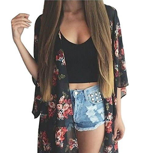 Hijing Women Loose Beach Cover up 3/4 Sleeve Floral for sale  Delivered anywhere in Canada