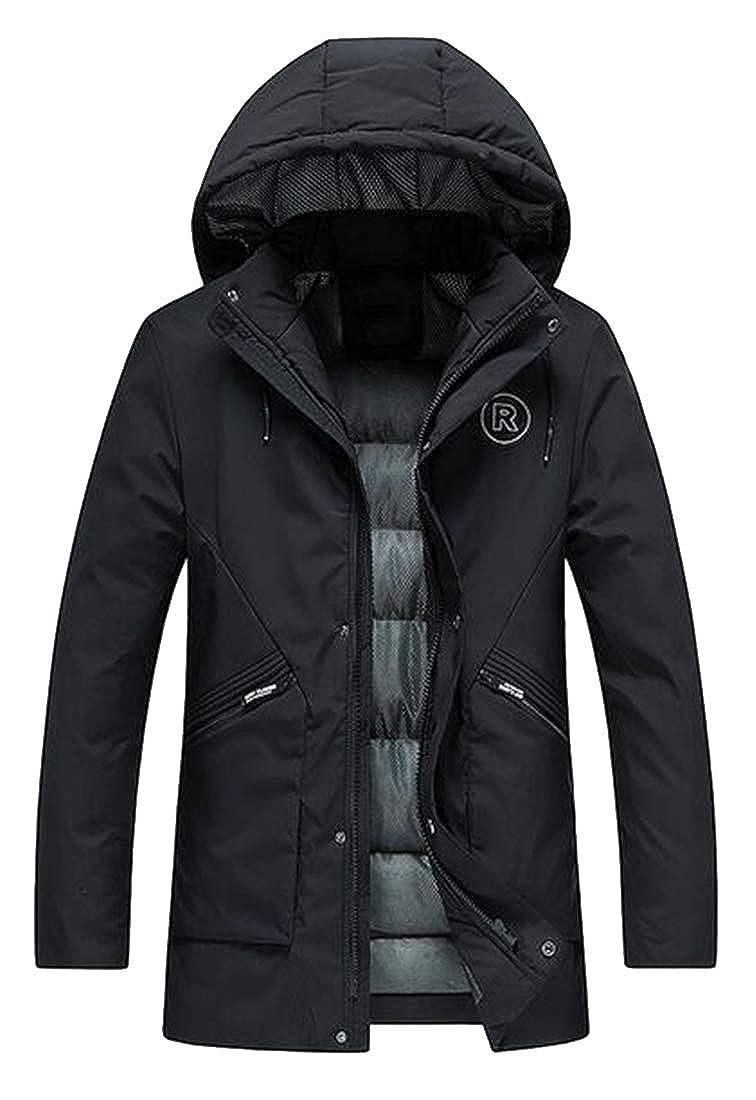 Jotebriyo Mens Slim Hoodie Winter Thicker Warm Down Quilted Jacket Coat Parka