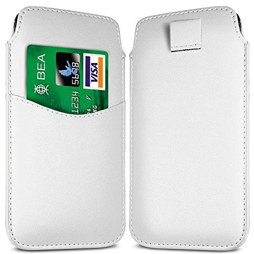 N4U Online - Apple Iphone 4S Fente pour carte prime PU Pull en cuir flip Tab Housse Etui - Blanc
