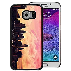 Supergiant (City Skyline Pink Yellow Nyc Sunset) Impreso colorido protector duro espalda Funda piel de Shell para Samsung Galaxy S6 EDGE (NOT S6)