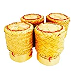 Kai White Orchid Sticky Rice Basket Thai Laos Handmade Bamboo to Keep Sticky Rice Warm (Yellow set of 4)
