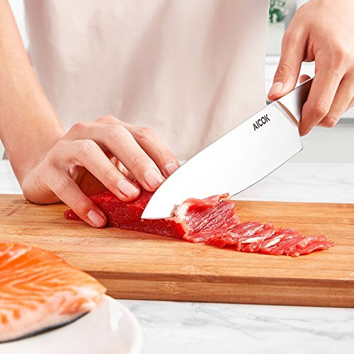 Aicok Chef Knife Pro Kitchen Knife 8-inch High Carbon German Stainless Steel Razor Sharp Blade and Ergonomic Handle by AICOK (Image #2)