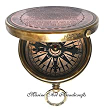 Vintage ''Robert Frost Poem'' Engraved Brass Compass with Embossed Needle & with Leather Case. C-3241