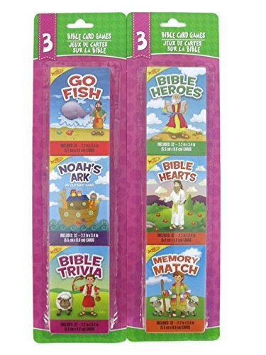 Noahs Ark Card Game - Greenbrier Bible Card Games Bundle- 2 Items: One Pack of Bible Heros, Hearts and Memory and One Pack of Go Fish, Noah's Ark and Bible Trivia