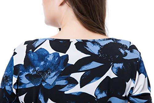 Taglie Lunghezza Ginocchio Floreale Vestito Stampato Maniche del Corte Girocollo Blu Forti Chicwe Donna Casual 5q7UU6