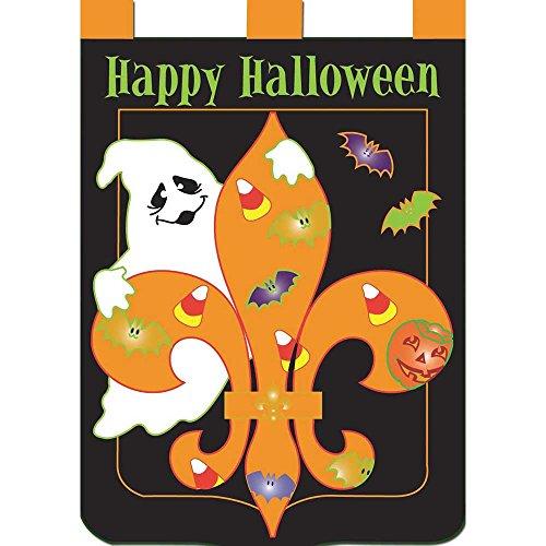 Happy Halloween Fleur de Lis 42 x 29 Shield Shape Double Applique Tab Top Large House Flag