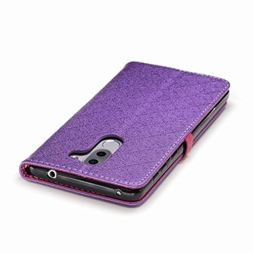 Yiizy Huawei Honor 6X (Huawei GR5 2017) Custodia Cover, Amare Design Sottile Flip Portafoglio PU Pelle Cuoio Copertura Shell Case Slot Schede Cavalletto Stile Libro Bumper Protettivo Borsa (Viola)