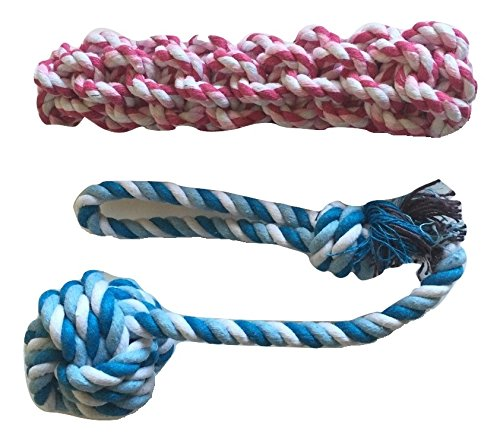 Brogan's Heroes Red and Blue Cotton Braided Rope Dog Toy 2-Pack Set with Monkey Fist Ball - FETCH TOSS ENTERTAIN!!!