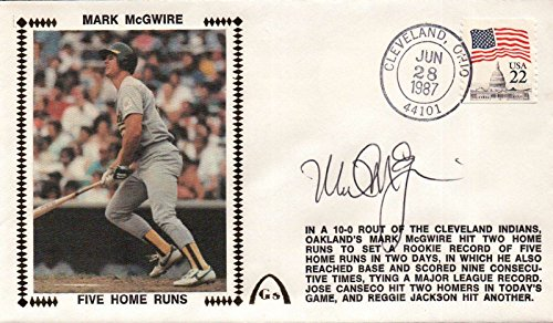 - Mark McGwire Signed Autographed FDC First Day Cover Cachet 5 Home Runs in 2 Days