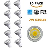 (10 Pack) NickLED GU10 7W Dimmable LED Light Bulbs 3000K Warm White 110V/120V, 630lm(60W Equivalent), GU10 Base Cold Forging Aluminum for Best Heat Dissipation-Great for House Office Mall