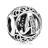 Everbling Vintage Letter A Clear CZ 925 Sterling Silver Bead Fits Pandora Charm Bracelet