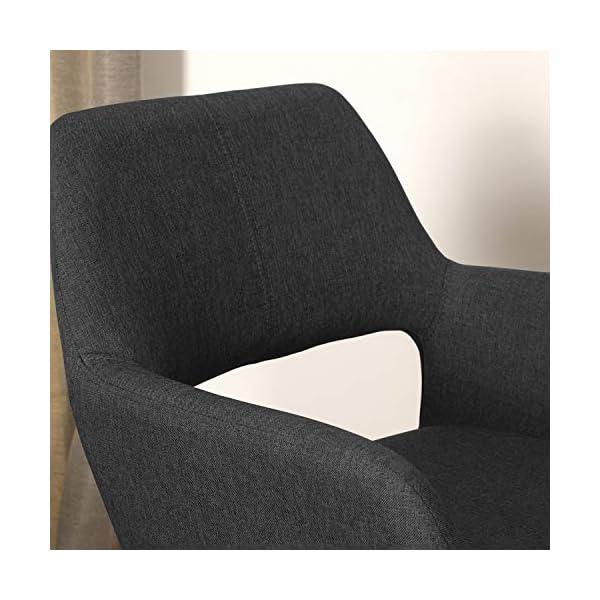 MEUBLE COSY Chaise de Bureau Ergonomique pour Enfant et sans accoudoirs, Tissu Noirs, Pieds Métal avec Finition en Bois…