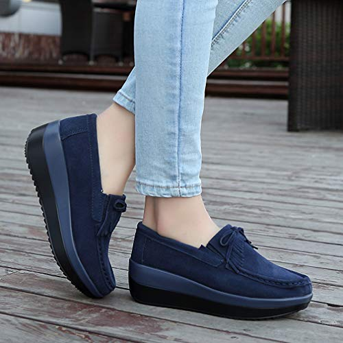 Blue4 Up Casual Leather Platform Women's Loafers Walking Lightweight Dark Suede Lace Orlancy wPqF7q