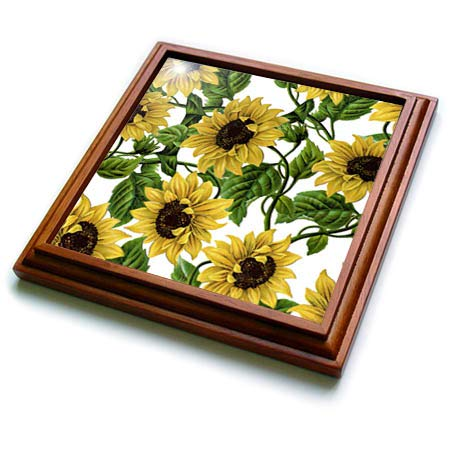 (3dRose Uta Naumann Watercolor Pattern - Watercolor Retro Summer Sunflower Vintage Flower Pattern - 8x8 Trivet with 6x6 ceramic tile (trv_293229_1))