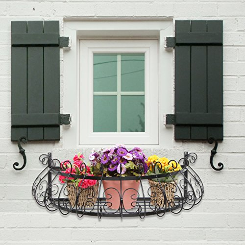 black metal scrollwork design wall mounted flower plant shelf display decorative window boxes planters