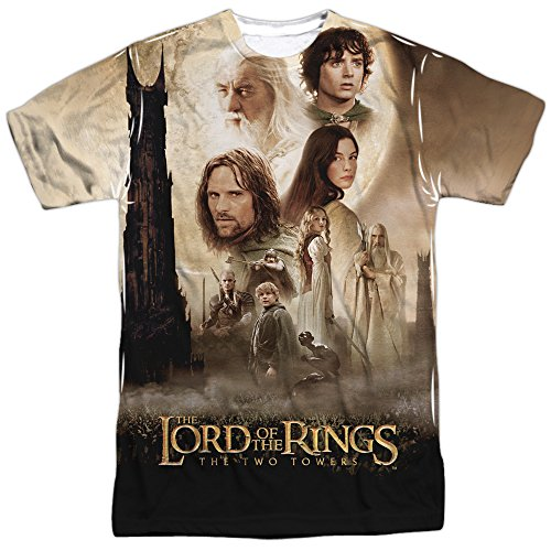 Lord of the Rings: Two Towers Fantasy Movie Poster Adult 2-Sided Print T-Shirt