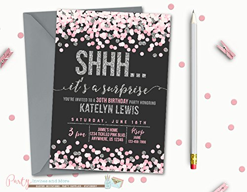 amazon com surprise birthday invitation printed with metallic
