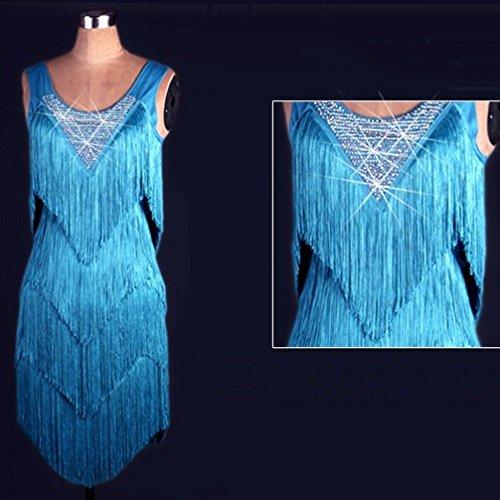 Girocollo Danza Wqwlf Vestito Ballo l Multilayer Latina Nappa Prestazione Per Competizione Blue Da Senza Maniche Le Abiti Xxl Donne zr5wz6q
