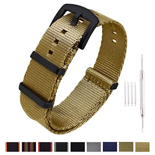 Flames Seat Buckle Belt - Ritche NATO Watch Strap with Heavy Buckle 18mm 20mm 22mm Premium Seat Belt Nylon Watch Bands for Men Women (Khaki -Black Buckle, 22mm)