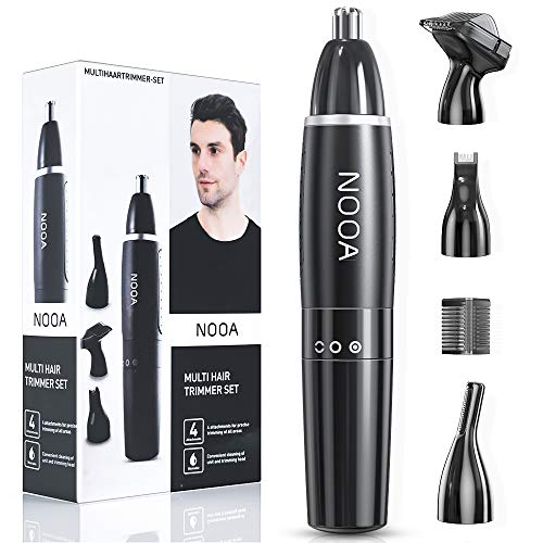 NOOA 4 IN 1 Ear and Nose Hair Trimmer for Men Eyebrow Trimmer Facial Hair Remover, Electric Painless Nose Hair Clipper Battery Operated ES-5531