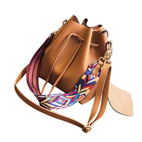 Bucket Women Shoulder Drawstring Cif Retro Nine Bag Brown Handbag Tote Fashion wU8nqt