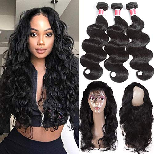 Beauty Princess 360 Lace Frontal with Bundles 9a Brazilian Body Wave Virgin Hair 3 Bundles with Frontal Closure Natural Color (Pre Plucked 360 Lace Frontal With Bundles)